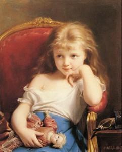 Fritz-ZuberPetite-fille-tenant-une-poupée1890
